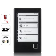Harmony 6 Inch E-Book Reader + MP3 Player (e-ink Display, PDF/TXT)