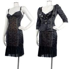 MOSCHINO Cheap and Chic Black Satin Illusion Lace Corset Lingerie Dress Jacket #Moschino #Sexy #corsetdress #LittleBlackDress