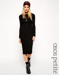 ASOS Petite   ASOS PETITE Long Sleeve Body-Conscious Rib Midi Dress at ASOS