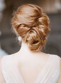 simple wedding updo hairstyle for bride