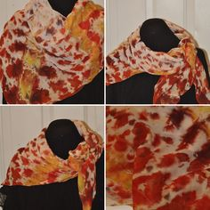 44x44 shibori dyed silk chiffon scarf Chiffon Scarf, Silk Chiffon, Dyed Silk, Shibori, Decorative Items, Handmade Items, My Etsy Shop, How To Make, Accessories