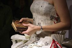 Fairy tale gown custom-made by bridal gown designer Jennifer Pritchard from 2500 book pages for a UK literary event.