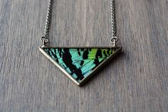 Teal and Black Triangle Necklace  Sunset Moth by HartVariations