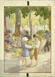 'Market Morning' - boy and girl with baskets of fruit and vegetables.