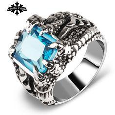 ArtificiRuby und saphir Dragon claw Ringe für männer und frauen Künstlichen kristall vintage Edelstahl Mode finger schmuck