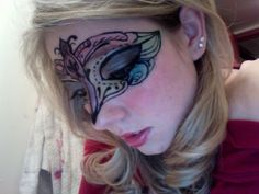 Mask created with eye makeup.  Want to wear this to work on Halloween.