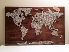 Our world map string art  3 thank you love  Crafty Beeotch