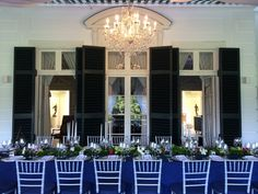 Seitel Lighting large crystal chandelier on the terrace of The Mount