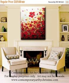 Red poppy wall art red poppy painting reprint home decor bathroom 20 original art abstract painting red poppies painting textured poppy flowers palette knife paintings wall decor gold 24x36 christine mightylinksfo Gallery