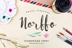 Norffo Font + Watercolor Brush by gurita_hitam on Creative Market