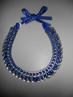 Blue pop tab  necklace