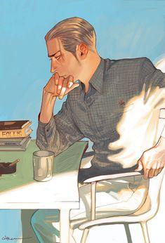 Saska at his desk in Zion Character Design References, Character Art, Character Illustration, Illustration Art, Daily Drawing, Boy Art, Looks Cool, Aesthetic Art, Vampires