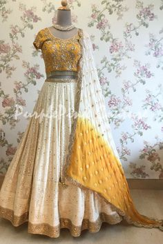 Indian wedding wear - Ivory and Mustard Yellow Lucknowi Lehenga Choli Indian Wedding Lehenga, Indian Wedding Wear, Indian Bridal Outfits, Indian Bridal Fashion, Indian Designer Outfits, Indian Lehenga, Indian Wear, Mehendi Outfits, Punjabi Wedding