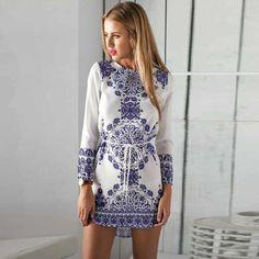 Ethnic Porcelain Printed Drawstring Mini Dress - OASAP.com