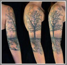 Картинки по запросу inner bicep sleeve tattoo tree flowers