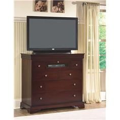 Versailles Media Chest by New Classic - Miskelly Furniture - Chest - Media Chest  Use this in place of the large dresser.  46 wide 20 deep 43 high.  Not having separate dresser and tv stand possibly allows for a bench at bottom of bed.  Double duty as tv stand and guest drawer space.  The end table that I have from this collection also has good drawer space.  The desk will provide plenty of tabletop space.