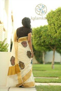 Kasavu Saree, Kalamkari Saree, Kerala Saree Blouse, Indian Sarees, Indian Look, Indian Wear, Traditional Sarees, Traditional Dresses, Ethnic Fashion