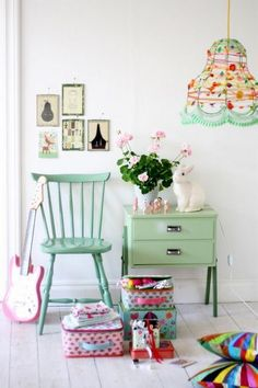 I'm thinking to get a white chair and paint it green like this for my daughter's homework chair. She does not like office chairs.