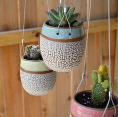 3 Hanging Crackle Egg Planters