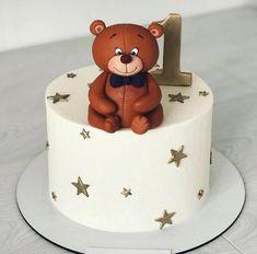 Cake Designs For Boy, Fondant Cake Designs, Baby First Birthday Cake, Teddy Bear Cakes, Baby Boy Cakes, Cake Boss, Custom Cakes, Cupcake Cakes, Cake Decorating
