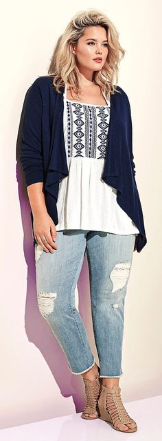 Plus Size Embroidered Sweater