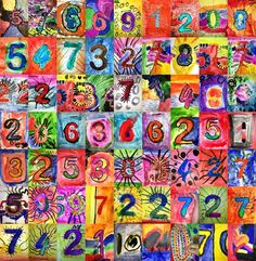 Can use Pi as inspiration. Each student creates a number. Jasper Johns Inspired Number art, great for Kindergarten. Class Art Projects, Collaborative Art Projects, Group Projects, Kindergarten Art Lessons, Art Lessons Elementary, Jasper Johns, Ipad Kunst, Number Art, Ecole Art