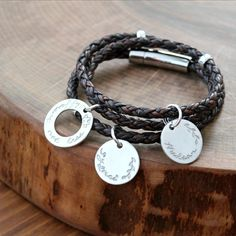 Personalized leather and silver triple wrap bracelet, inspirational message and children's names or custom message. Visit www.2sistershandcrafted.com or click for details.