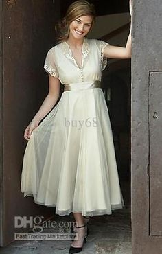 Vintage Short sleeve A-line Applique Organza Beach Bridal Mother of the Bride Dresses Gown Custom