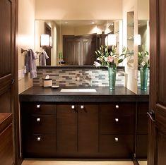 bathroom backsplash to add spa like feel and built in shelves for style - Bathroom Backsplash