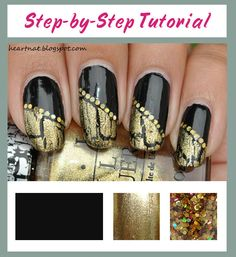 Gold Crackle Diagonal French on Black Nail Art French Pedicure, French Manicure Nails, Pedicure Nail Art, Gold Nails, Nail Tip Designs, Simple Nail Art Designs, Nail Polish Designs, Easy Nail Art, Crackle Nails