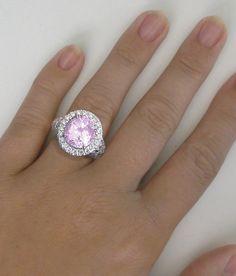 7 carat Pink Sapphire Diamond Halo Engagement Ring in 14k white gold