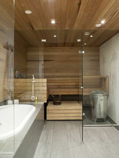 Contemporary Interior Design, Bathroom Interior Design, Saunas, Sauna Design, Spa Rooms, Steam Room, Bathroom Spa, House Layouts, Basement Remodeling