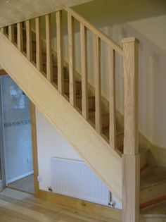 North east stairs can transform your existing staircase balustrade into a beautiful, handcrafted feature for the fraction of the cost of a replacement staircase. Solid oak staircase balustrades, oak and glass and oak stop chamfer. Staircase Handrail, Banisters, Stair Railing, Railings, Stair Renovation, Newel Posts, Under Stairs, Solid Oak, Stairways