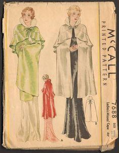 McCall 7688   1933 Ladies' & Misses' Cape