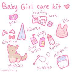 Babygirl care kit ♥ #ddlg #abdl #babygir I love all except the diaper and bib and pacifier XD (my mental age ranges from 5-12 but not infancy)