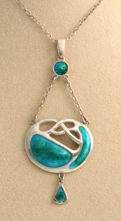 New in the gallery: This lovely sterling silver and enamel pendant on chain, an Art Nouveau Celtic knot medallion by Charles Horner, well-known for fine enameled jewelry. This piece is from Chester, 1911. Offered by Cherub Antiques Gallery: http://www.cherubantiquesgallery.com/