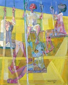 Girls in the balance(1960) - Oil on Canvas - Candido Portinari.