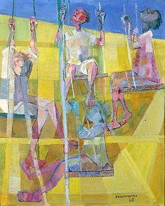 Girls in the balance(1960) - Oil on Canvas - Candido Portinari.