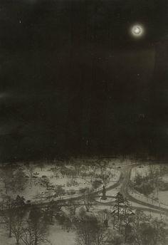 """dame-de-pique: """"  Solar Eclipse Over Snowy Central Park NYC, 1925 """""""