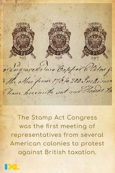 In 1765 #OnThisDay, colonial representatives in North America convened the Stamp Act Congress! #TBT Practice this IXL skill to learn more about the lead-up to the American Revolution: