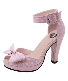 T.U.K. Pink & White Dot Starlet Peep-Toe Sandal by T.U.K. #zulily #zulilyfinds