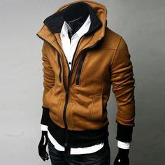 Men's fashion hoody Slim double stand collar double zipper outerwear