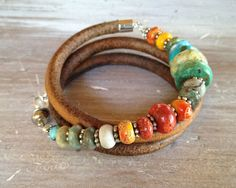❥ Triple Leather Bracelet - Sundance style turquoise, sponge coral, silver - A Mobius style that is hugely clever!