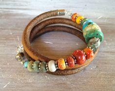 Love this fun bracelet!  Triple Leather Bracelet  Sundance style by ChickpeaDesignStudio, $48.00