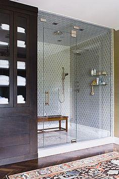 Moorish tile, ebony linen cabinet