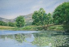 """""""Little Long Pond"""", an original watercolor painting of Maine by Beth Whitney"""
