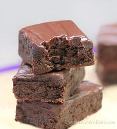 HEALTHY Chocolate Zucchini Fudge Brownies: these are good but I changed a few things: I used white whole wheat flour instead of coconut, and did half coconut oil half canola oil, and only did a half cup of it. I used Splenda as my sugar. I used her frosting recipe which was good too. They were pretty darn rich but I had a lot of people like them! Great with peanut buttet on top!