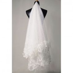 Angelina Lu Grace Multi-Layer Embroidered White Tulle Wedding Veil for Bride