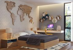 25 Cool and Cozy Teenage Boy Bedroom Ideas For Your Beloved Son 25 Cool and Cozy Teenage Boy Bedroom Ideas For Your Beloved Son – Homely<br> Bedroom design is one that is often heard when building, arranging and decorating a useful place for a place t Boys Bedroom Decor, Master Bedroom Design, Cozy Bedroom, Bedroom Sets, Boy Bedroom Designs, Master Suite, Boys Bedroom Wallpaper, Teen Boy Bedding, Teenage Room