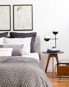 Beautiful monochrome bedroom - Emily Henderson Styling